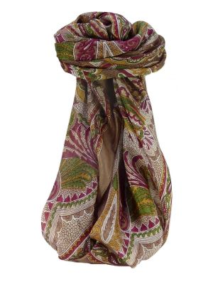Mulberry Silk Traditional Square Scarf Zubin Chestnut by Pashmina & Silk