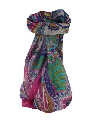 Mulberry Silk Traditional Square Scarf Zubin Pink by Pashmina & Silk