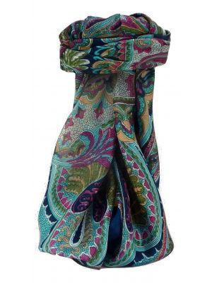 Mulberry Silk Traditional Square Scarf Zubin Navy by Pashmina & Silk