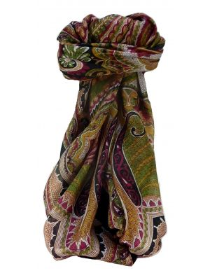 Mulberry Silk Traditional Square Scarf Zubin Black by Pashmina & Silk