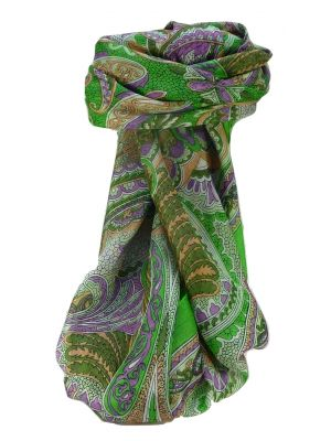 Mulberry Silk Traditional Square Scarf Zubin Lime by Pashmina & Silk