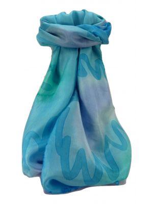 Mulberry Silk Contemporary Long Scarf Addi Aqua by Pashmina & Silk