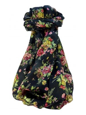 Mulberry Silk Contemporary Long Scarf Desiraju Black by Pashmina & Silk