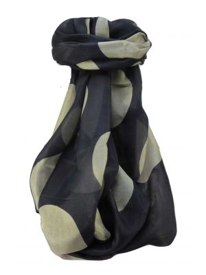 Mulberry Silk Contemporary Long Scarf Kalam Black by Pashmina & Silk