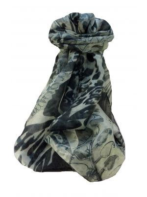 Mulberry Silk Contemporary Long Scarf Kavitar Charcoal by Pashmina & Silk