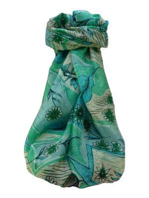 Mulberry Silk Contemporary Long Scarf Navendra Aqua by Pashmina & Silk