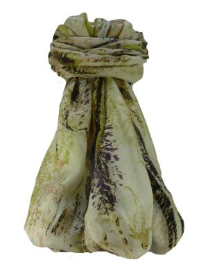 Mulberry Silk Contemporary Long Scarf Mahavira Ivory by Pashmina & Silk