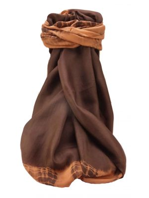 Mulberry Silk Contemporary Long Scarf Raman Chocolate by Pashmina & Silk