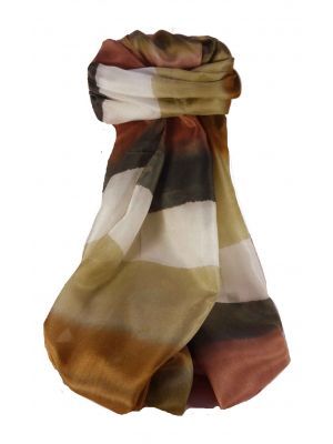 Mulberry Silk Contemporary Long Scarf Ranade Brown by Pashmina & Silk