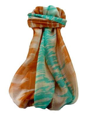 Mulberry Silk Contemporary Long Scarf Shibli Terracotta by Pashmina & Silk