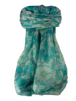 Mulberry Silk Contemporary Long Scarf Rao Aqua by Pashmina & Silk