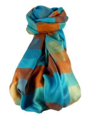 Premium Silk Stole Mondrian Pattern Blue & Orange Colourway by Pashmina & Silk