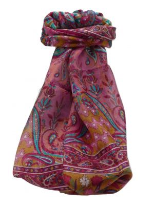 Mulberry Silk Traditional Long Scarf Alka Pink by Pashmina & Silk