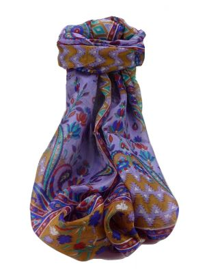 Mulberry Silk Traditional Long Scarf Alka Indigo by Pashmina & Silk
