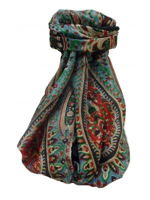 Mulberry Silk Traditional Long Scarf Amrindar Black by Pashmina & Silk