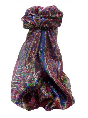Mulberry Silk Traditional Long Scarf Amrindar Wine by Pashmina & Silk
