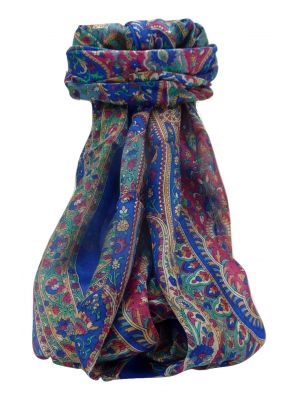 Mulberry Silk Traditional Long Scarf Amrindar Blue by Pashmina & Silk