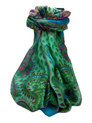 Mulberry Silk Traditional Long Scarf Dasari Aqua by Pashmina & Silk