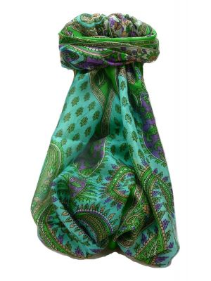 Mulberry Silk Traditional Long Scarf Dasari Emerald by Pashmina & Silk