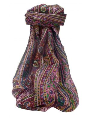 Mulberry Silk Traditional Long Scarf Kaliash Wine by Pashmina & Silk