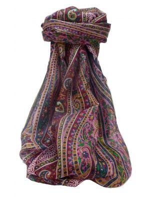 Mulberry Silk Traditional Long Scarf Kaliash Wine by Pashmina & Silk