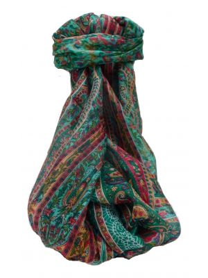 Mulberry Silk Traditional Long Scarf Kaliash Teal by Pashmina & Silk
