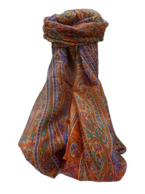 Mulberry Silk Traditional Long Scarf Kaliash Nectarine by Pashmina & Silk