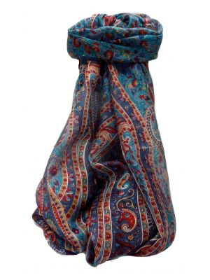 Mulberry Silk Traditional Long Scarf Kaliash Navy by Pashmina & Silk