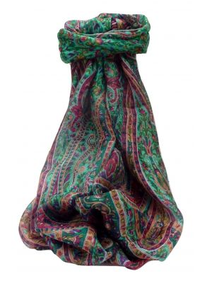 Mulberry Silk Traditional Long Scarf Kaliash Emerald by Pashmina & Silk