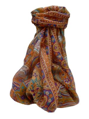 Mulberry Silk Traditional Long Scarf Kalyan Tangerine by Pashmina & Silk