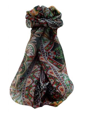 Mulberry Silk Traditional Long Scarf Kalyan Black by Pashmina & Silk