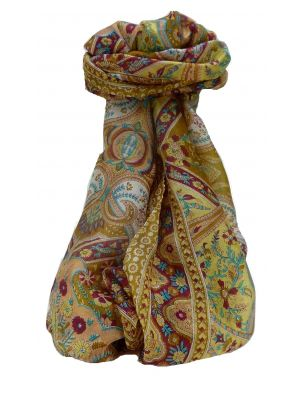 Mulberry Silk Traditional Long Scarf Kalyan Chestnut by Pashmina & Silk