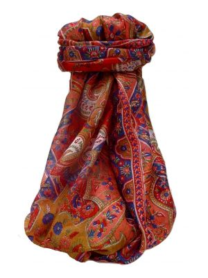 Mulberry Silk Traditional Long Scarf Kalyan Scarlet by Pashmina & Silk