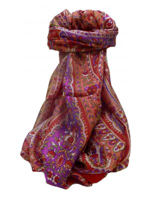 Mulberry Silk Traditional Long Scarf Karita Scarlet by Pashmina & Silk