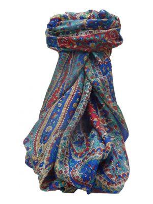 Mulberry Silk Traditional Long Scarf Karita Blue by Pashmina & Silk