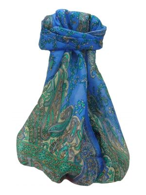 Mulberry Silk Traditional Long Scarf Komal Blue by Pashmina & Silk
