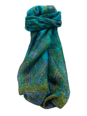 Mulberry Silk Traditional Long Scarf Komal Aqua by Pashmina & Silk