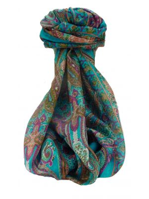 Mulberry Silk Traditional Long Scarf Monali Aqua by Pashmina & Silk