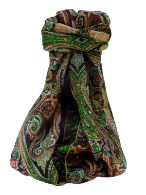 Mulberry Silk Traditional Long Scarf Monali Black by Pashmina & Silk