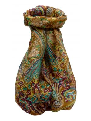 Mulberry Silk Traditional Long Scarf Palekar Chestnut by Pashmina & Silk