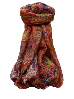 Mulberry Silk Traditional Long Scarf Palekar Scarlet by Pashmina & Silk