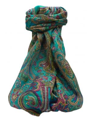 Mulberry Silk Traditional Long Scarf Palekar Aqua by Pashmina & Silk