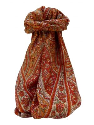 Mulberry Silk Traditional Long Scarf Pandit Terracotta by Pashmina & Silk