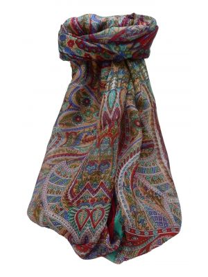 Mulberry Silk Traditional Long Scarf Prakash Scarlet by Pashmina & Silk