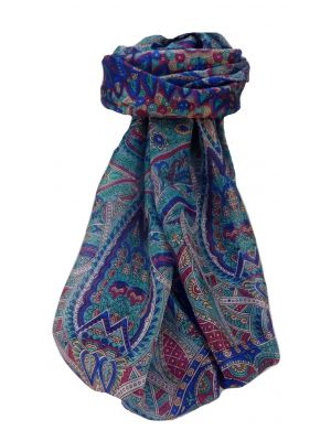 Mulberry Silk Traditional Long Scarf Prakash Blue by Pashmina & Silk