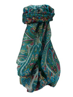 Mulberry Silk Traditional Long Scarf Prakash Aqua by Pashmina & Silk