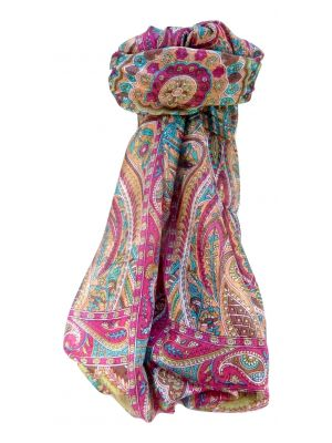 Mulberry Silk Traditional Long Scarf Prakash Pink by Pashmina & Silk