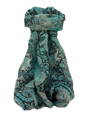 Mulberry Silk Traditional Long Scarf Rayab Aqua by Pashmina & Silk