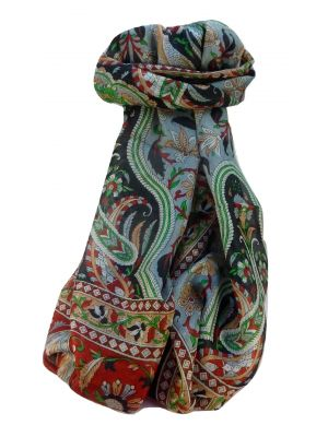 Mulberry Silk Traditional Long Scarf Sakhar Black by Pashmina & Silk