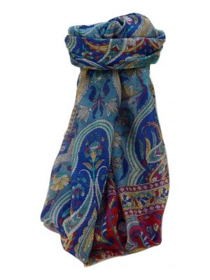 Mulberry Silk Traditional Long Scarf Sakhar Blue by Pashmina & Silk
